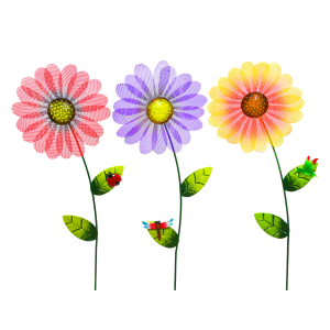 "36"" Metal Daisy Garden Stake - Assorted"