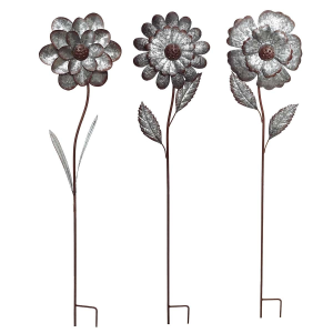 "49"" Metal Flower Garden Stake - Assorted"