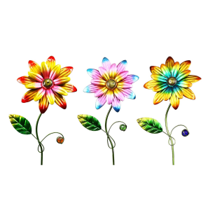 "15"" Metal Daisy Garden Stake Flower - Assorted"