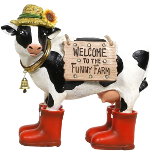 Solar Garden Cow Welcome Statue with LED Lights