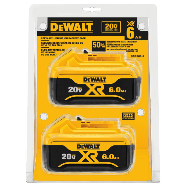 20V MAX Premium XR 6.0 AH Lithium Ion Battery 2-Pack DCB206-2