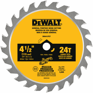 "4-1/2"" 24-Tooth Laminate & Fiber Cement Saw Blade DWA412TCT"