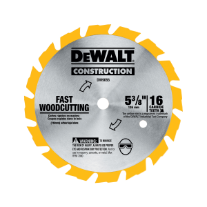 "5-3/8"" 16T Carbide Saw Blade (Fast Woodcutting) DW9055"