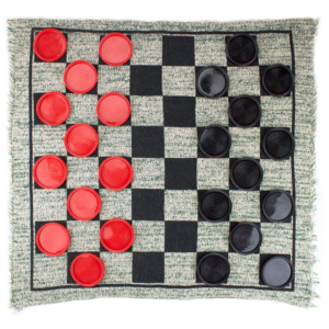 Giant 3-in-1 Checkers and Mega Tic Tac Toe with Reversible Rug