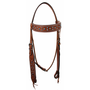 Browband Headstall with Turquoise Flower and Dot Accents