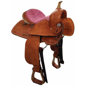 Barrel Racer Pink Suede Youth Saddle