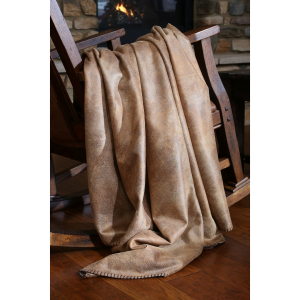 Tobacco Faux Leather Throw Blanket