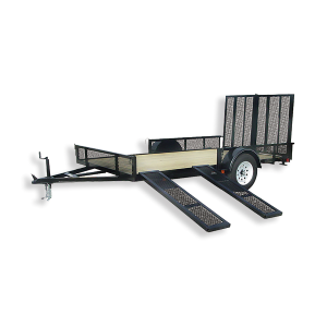 7 x 12 Wood Floor Trailer with Ramp Gate and Side Mount Ramps