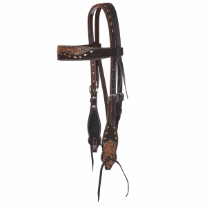 Browband Headstall Mav Chocolate Buckstitch