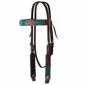 Browband Headstall Filigree Turquoise Gator