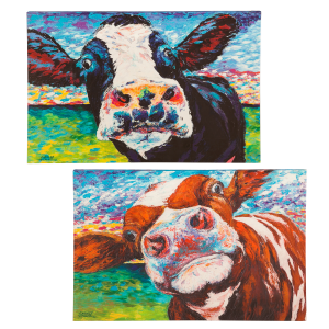 Curious Cow Canvas Wall Art - Assorted