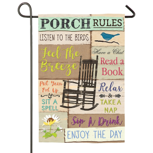 Porch Rules Garden Suede Flag