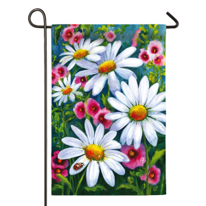 Big Daisies Garden Satin Flag