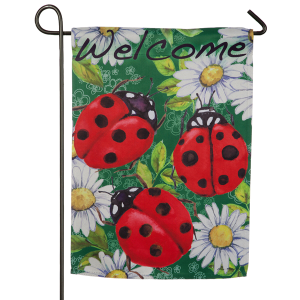 Ladybugs on Green Garden Suede Flag