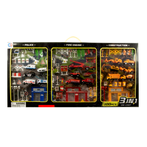 3-in-1 Diecast Police, Fire Engine, and Construction Playset