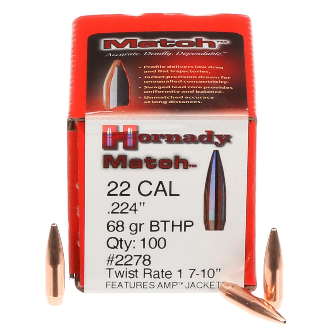 22 Cal  224 68 Grain BTHP Match Bullets