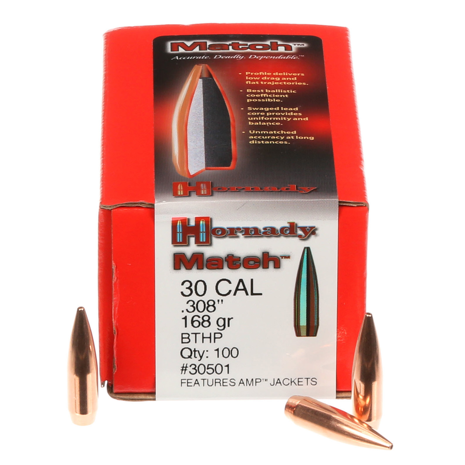 Murdoch's – Hornady -  30 Cal  308 168 Grain BTHP Match Bullets