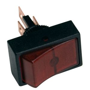 12V DC Red Rocker Switch with Round Mount
