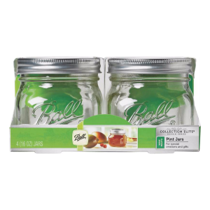 1 Pint Collection Elite Wide Mouth Mason Canning Jars - 4 Count