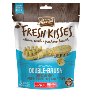Fresh Kisses Double Brush Mint Dental Treats - Medium Dog