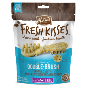 Fresh Kisses Double Brush Mint Dental Treats - Large Dog