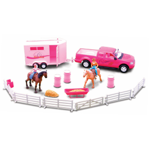 Valley Ranch Pink Pickup Truck and Trailer Set