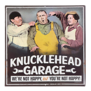 Three Stooges Knucklehead Garage Metal Sign
