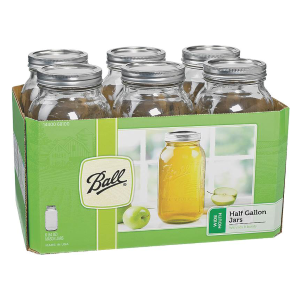 1/2 Gallon Wide Mouth Mason Canning Jars - 6 Count