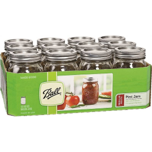 1 Pint Regular Mouth Mason Canning Jars - 12 Count
