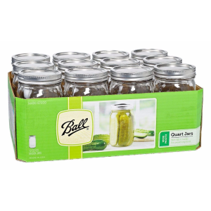 1 Quart Wide Mouth Mason Canning Jars - 12 Count