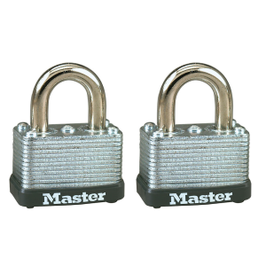 "1-1/2"" Wide Laminated Steel Warded Padlock 2-Pack"