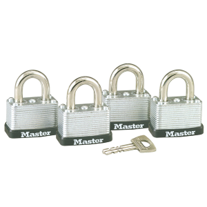 "1-1/2"" Wide Laminated Steel Warded Padlock 4-Pack"