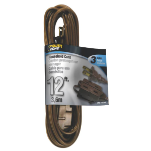 Brown Household Extension Cord w/ 3 Outlets - 16/2