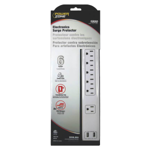 6 Outlet Electronics Surge Protector w/ 4' Power Cord