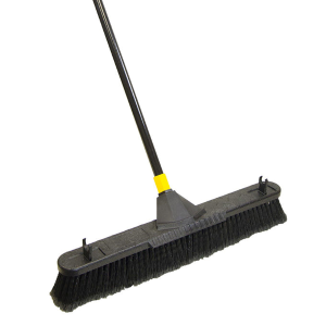 "24"" Smooth Surface Pushbroom w/ Built-In Scraper"