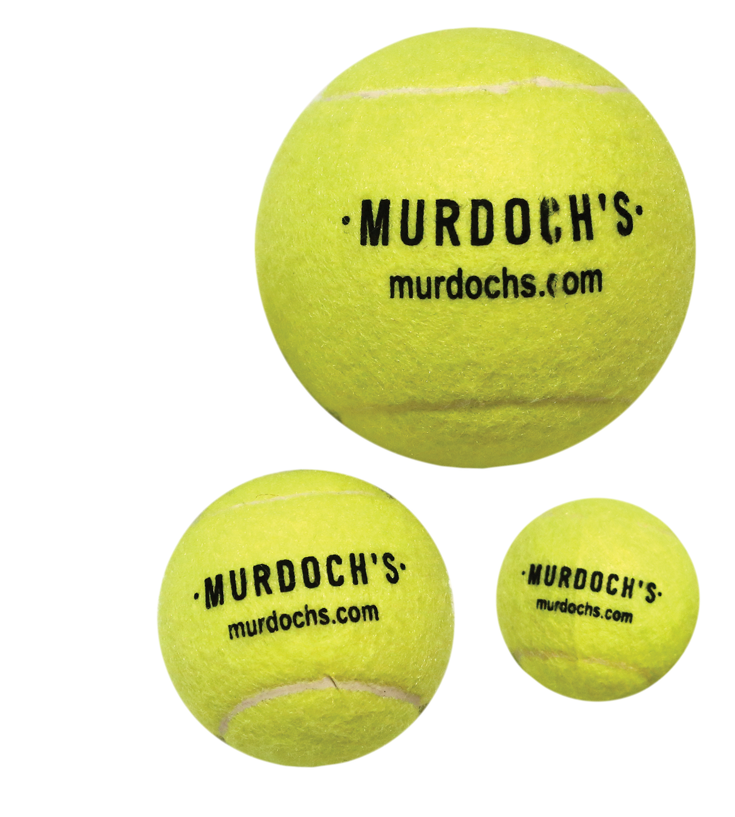 Three sizes of tennis balls: mini, standard, and extra large