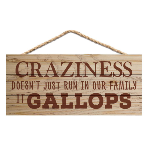 Craziness Doesn't Just Run In Our Family Hanging Sign