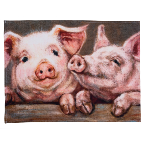 Two Farmhouse Pigs Cotton Dish Towel