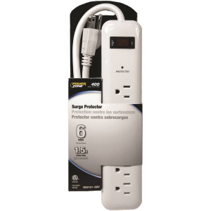 6 Outlet Surge Protector Strip w/ 1.5' Power Cord