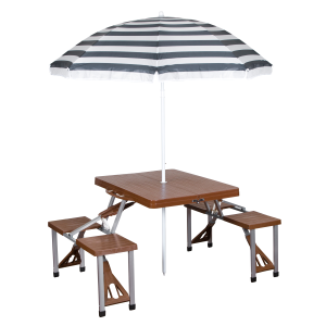Portable Combo Picnic Table & Umbrella