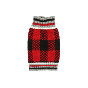 Buffalo Plaid Knit Dog Sweater