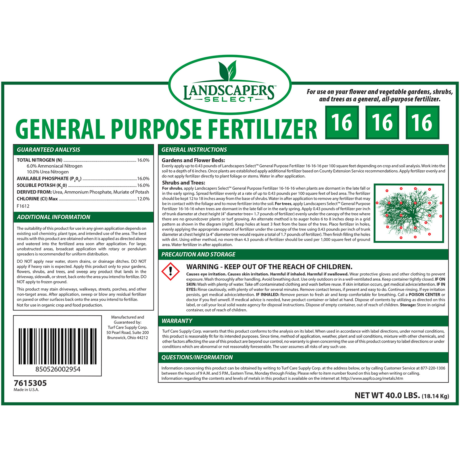 Murdoch's – Landscapers Select - 16-16-16 General Purpose Fertilizer