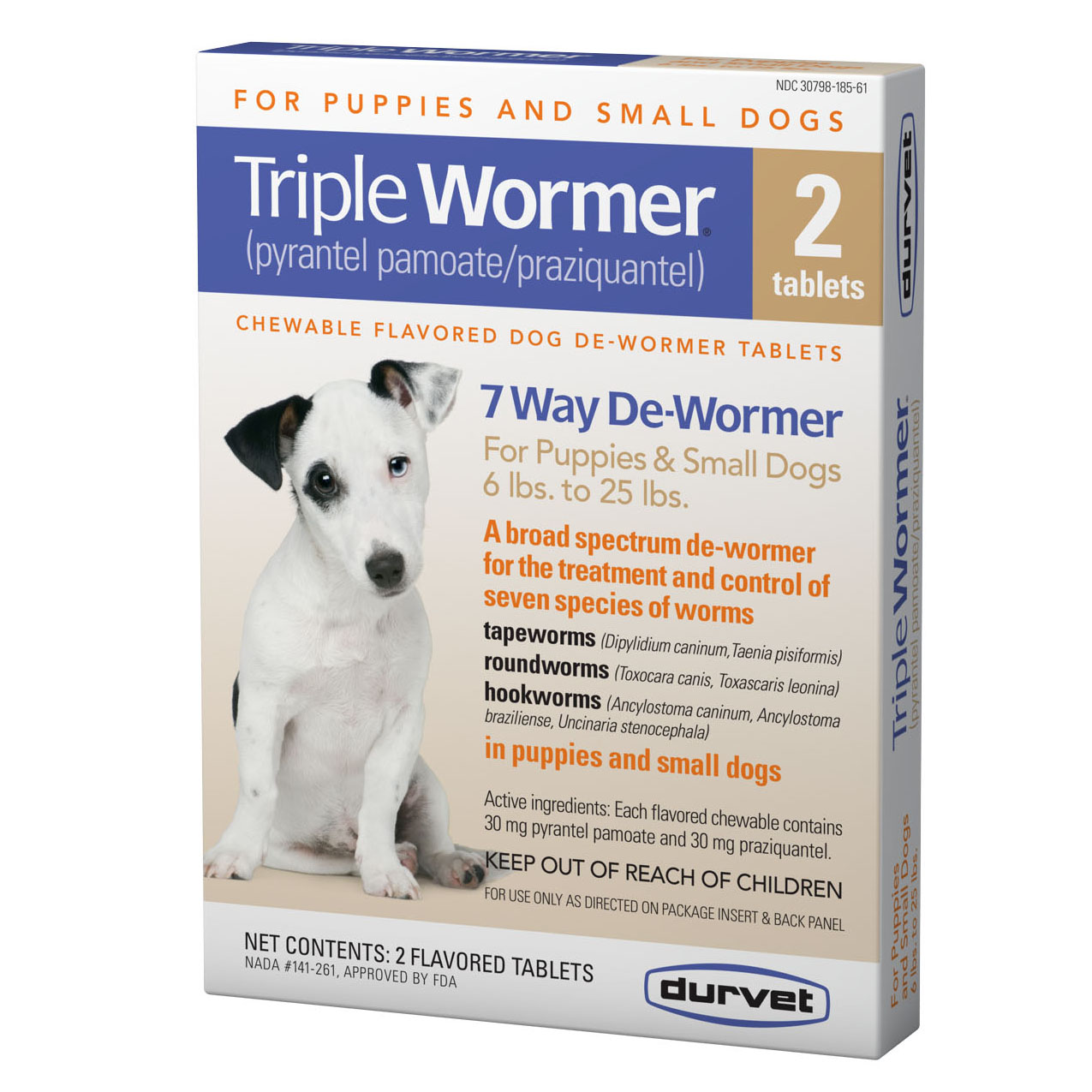 Murdochs Durvet Triple Wormer Chewable Tablets For Puppies Small Dogs