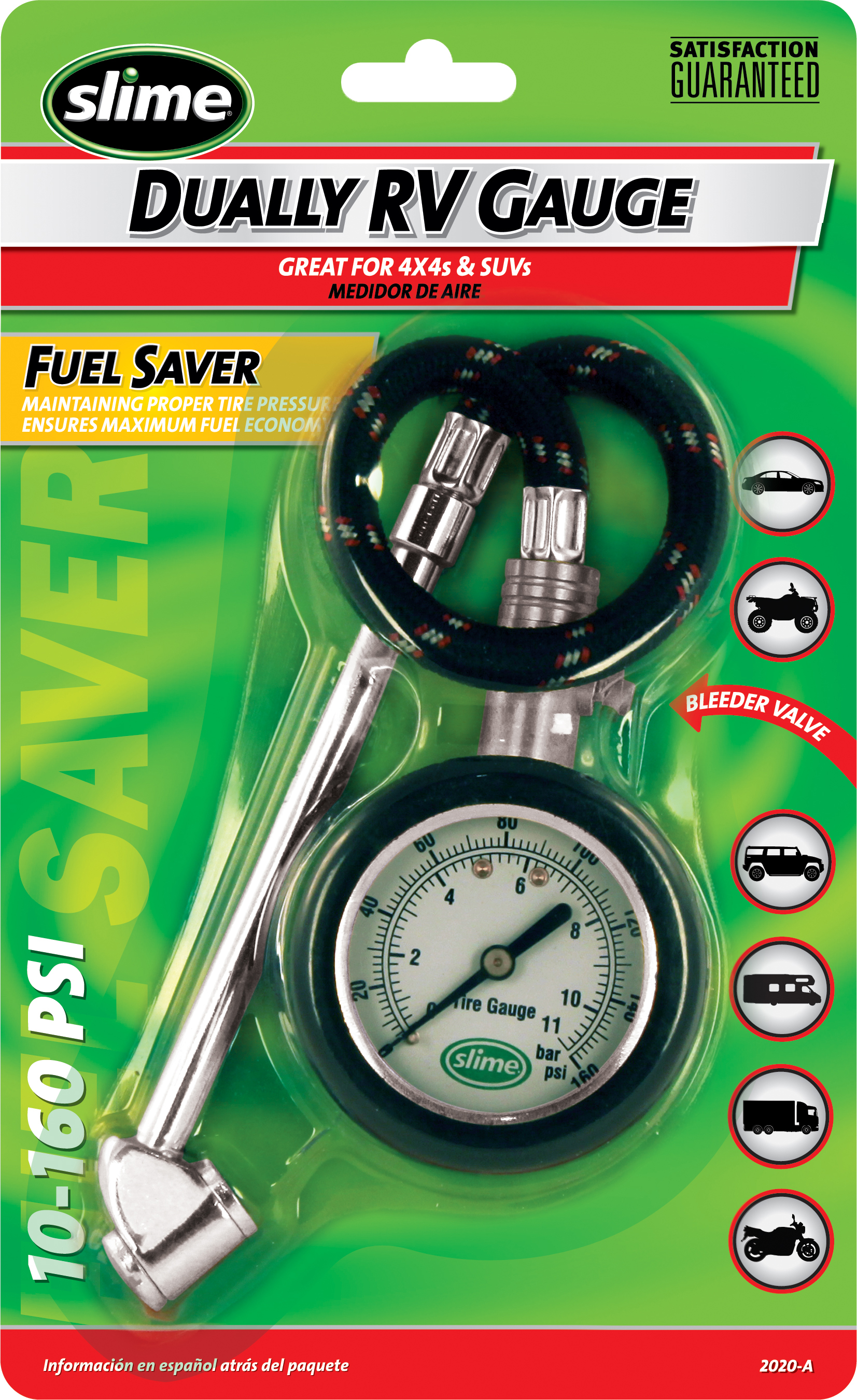 SLIME auto SUV 4x4 RV TIRE GAUGE 10-160 PSI AIR PRESSURE reset /& Bleeder Valve
