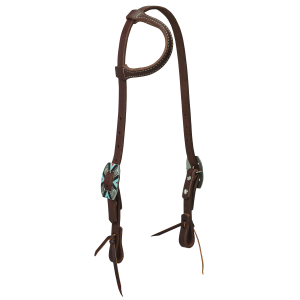Working Cowboy Sliding Ear Headstall with Southwest Rope Edge Hardware