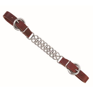 Latigo Leather Double Flat Link Chain Curb Strap
