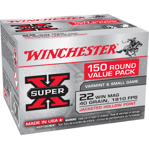 Super X .22 Win Mag 40 Grain Jacketed Hollow Point Ammo - 150 Rounds