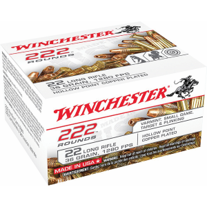 .22 Long Rifle 36 Grain Copper Plated Hollow Point Ammo - 222 Rounds