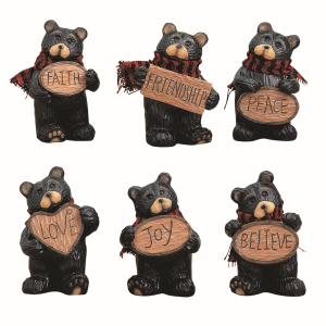 Resin Mini Bear with Sign - Assorted
