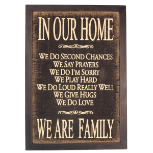 "Burlap ""In Our Home"" Wall Sign"